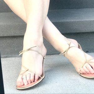 GUCCI beige leather kitten HEELS strappy sandals